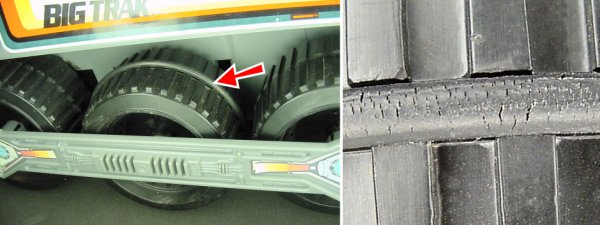 Left: Rubber o-rings on the Big Trak provide traction. Right: The o-rings crack with age.