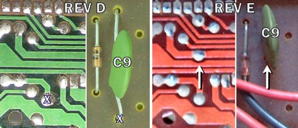 By moving a hole, physically smaller capacitors or shorter lead lengths could be used on the REV E board. (REV E photos courtesy of Pablo Bleyer Kocik)