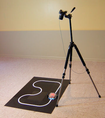 Long exposure photo setup with camera on tripod