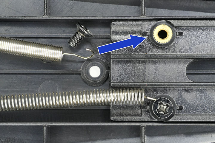 Springs connect to threaded insert on bracket arm