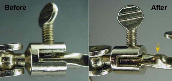 Before and after image of brass rod protecting alligator clip barrel against crimping.