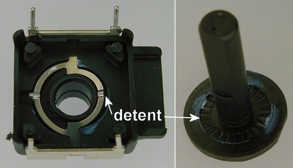 The top and spindle shaft of a rotary encoder includes a detent (a spring with bumps) that makes a clicking sound as the shaft is turned.