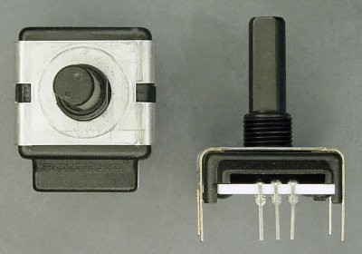 Top and side view of a Bourns rotary encoder.