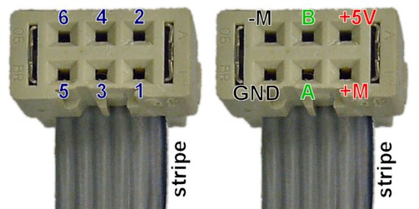 Left: Pinout of the Faulhaber gearmotor encoder. Right: Example pinout to drive the motor forward.