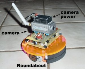 Mounting a compact video camera with microphone and RF transmitter onto a robot for a unique and fun view of the world.