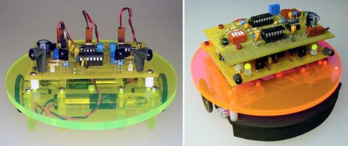 Left: Simpler version of the Roundabout robot. Right: Significantly upgraded.