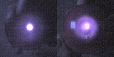 Left: The normally invisible infrared light from a remote control is easy to see in a digital camera. Right: The remote control light passing through a plastic eggshell shows generally the same amount of light, but more spread out.