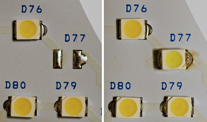 Missing LED replaced in LED T9 bulb