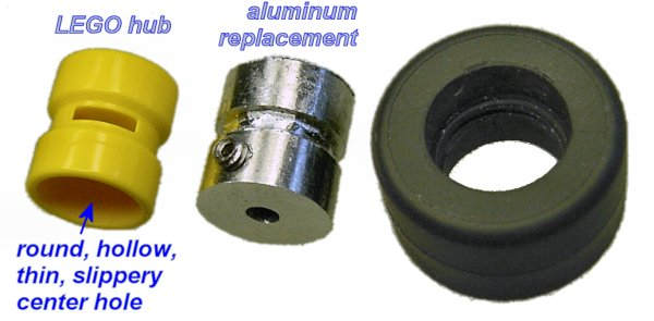 Left: Original LEGO hub with large slippery center hole. Middle: Homemade replacement aluminum hub. Right: Corresponding LEGO rubber tire. Note the molded ring in the center that mates with the center groove on the hub.