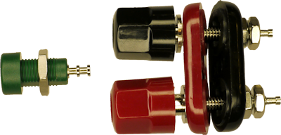 Banana jack with insulated mount (left) and bare bolts (right)