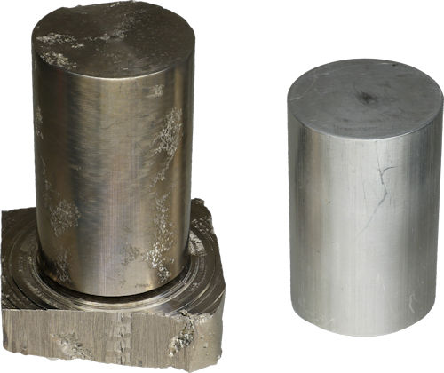 Bismuth cylinder machined from block