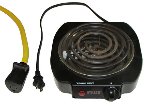 Electric burner and 10 gauge extension cord