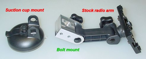 Bolt mount to replace a suction cup mount on a stock satellite radio car kit