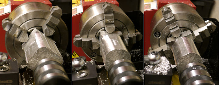 Rounding a cylinder from a block on a lathe