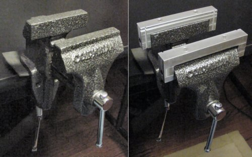 Standard vise (left) and aluminum jaws with grooves for PCBs (right)