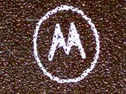 Motorola logo on a chip at 60x magnification
