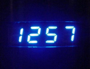 Lite-On LTS-2301AB blue four-digit numeric display.