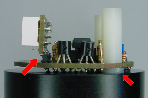Side view of milling-machine tachometer showing washers to hold the board flat and right-angle headers to connect the numeric LED display board.