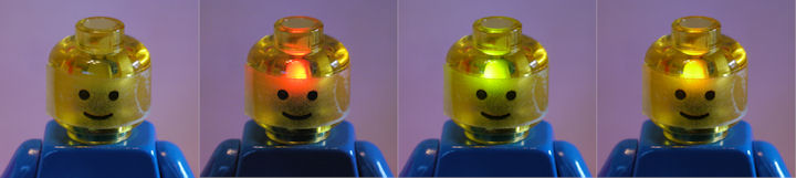 Bicolor LED inside Lego minifigure head showing off red green and yellow