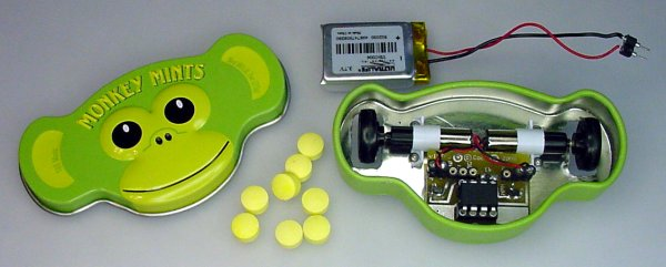 A robot made from a Monkey Mints candy container.