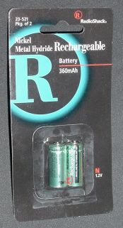 Pair of N-size rechargeable batteries from RadioShack, part #23-521