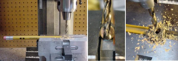 Drilling a pencil with a brass tube cap in a milling machine vise.