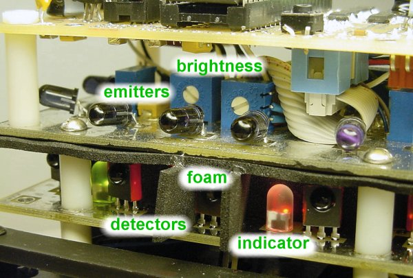 No.2's robotic vision system consists of infrared emitters and detectors, with LED indicators and trimpots for testing and adjustment.