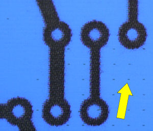 Close up of PCB transfer with printer steganography