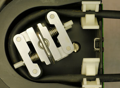 Close up of peristaltic pump with Santoprene tubing