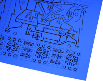 PCB pattern printed on Press N Peel transfer film