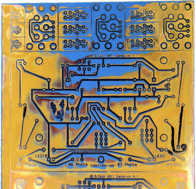 Partly etched PCB