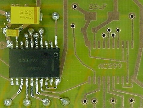A SOIC package mounted on pads
