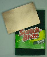 Scotch-Brite scouring pads and a single-sided copper board