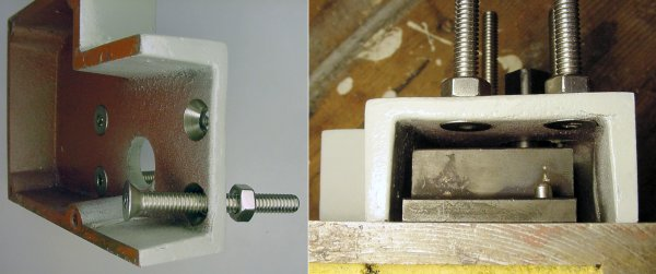 Left: Flathead screws inserted into the cover before placing the cover back onto the shear. Right: The cover installed on the shear shows possibly enough space for hex-head bolts.