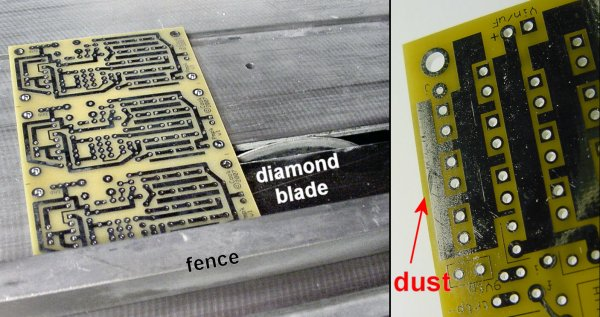 Left: Cutting PCB panels on a table saw with diamond blade, using the fence as a straight-edge guide. Right: PCB dust particles contaminate the board.