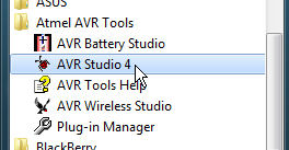 Atmel AVR Studio application start menu
