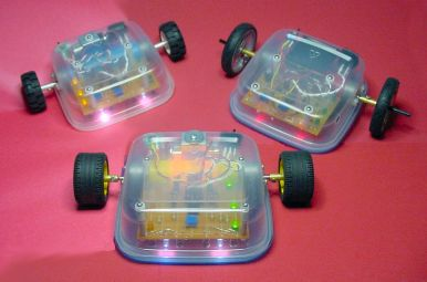 Three robots: Blue Sandwich (top left) with a printed circuit board; Red Sandwich (top right) with phototransistors, taller wheels, and a 6-volt battery pack; and the original Sandwich (bottom center) with point-to-point wiring and no headlight brightness adjustment