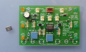 LM393 dual comparator installed in a completed board