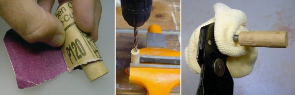 Left and Middle: Sanding and drilling the dowel. Right: Screwing in the bent screw by gripping the machine-threaded end with RoboGrip pliers and a protective cloth.