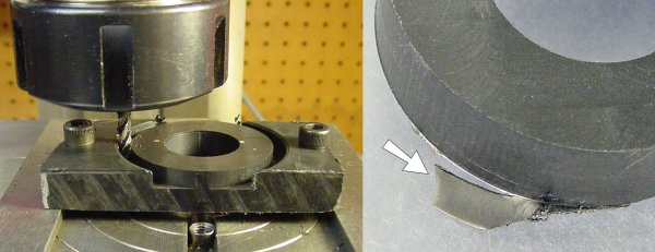 Left: Machining the outside of the speaker mounts. Right: Removing the thin connecting plastic or flash.