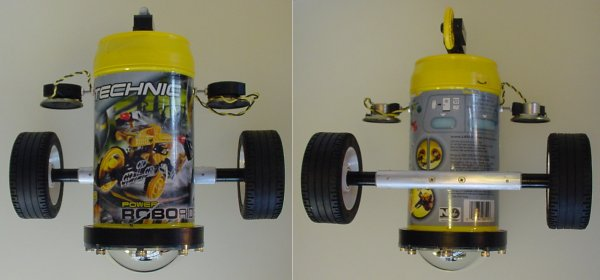 Photos above and below the robot showing the wide stance created by mounting motors end-to-end in an aluminum rod.