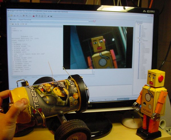 ImageCraft compiler, HyperTerminal, and ATI Catalyst Media Center on a personal computer to develop, control, and see the view of the explorer robot.