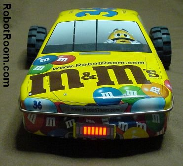 Front view of Sweet m&m line-following robot