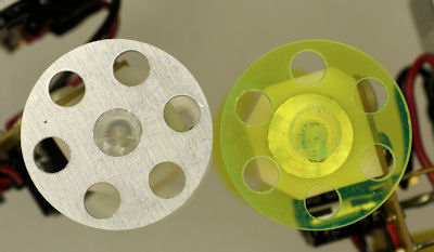 Aluminum and acrylic DIY robot wheels with speed holes