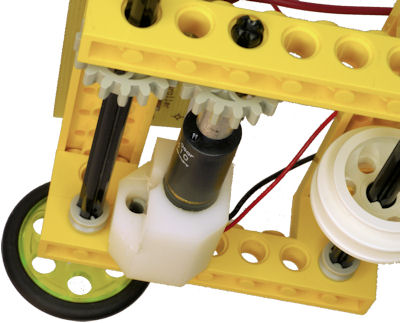 Gearmotor mount attaches with LEGO peg