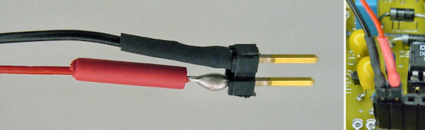 Heat shrink tubing over headers to make a connector