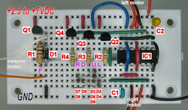 atari joystick wired remote control for robots, page 3 robot roomsolderless breadboard wired with a joystick controller circuit and fan8200 motor driver